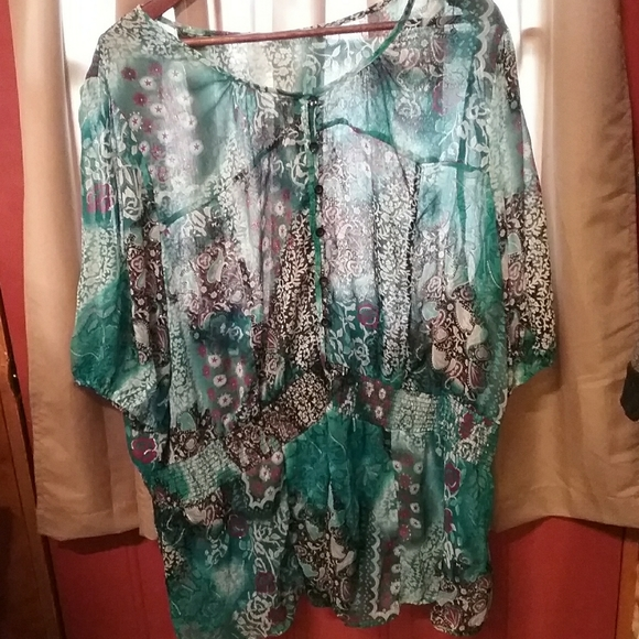 Flowy teal and purple sheer retro tunic